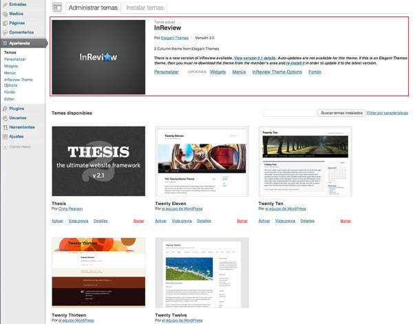 administración de temas en wordpress