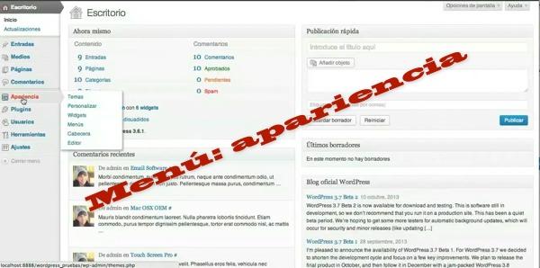 Wordpress: Menú apariencia