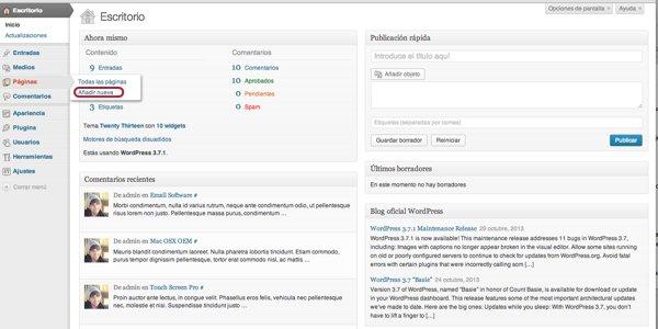 añadir nueva página wordpress