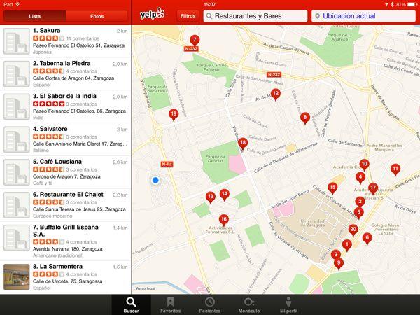 Aplicación móvil del Yelp