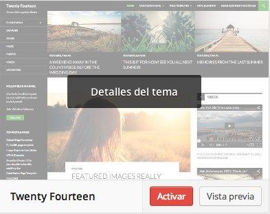 opciones temas wordpress