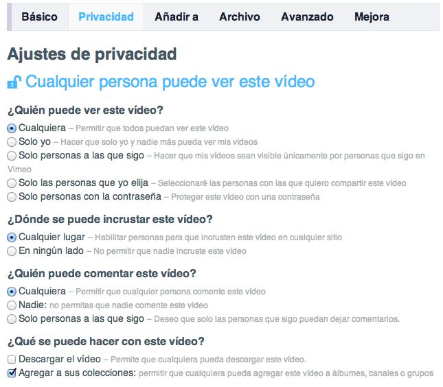 opciones de privacidad de Vimeo Plus