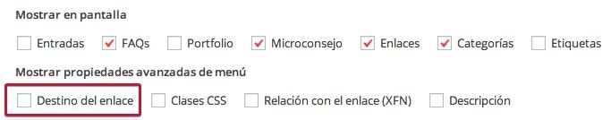 Opciones pantalla menú WordPress